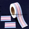 Transgender Rectangle Plastic Coated Paper Adhesive Stickers Roll of 100 Trans Pride