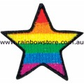 Rainbow Star Embroidered Iron On Patch Gay Lesbian Pride