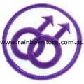 Double Male White Background Embroidered Iron On Patch Gay Pride