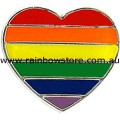Rainbow Heart Badge Lapel Pin Lesbian Gay Pride
