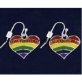 Rainbow Heart Silver Plate Pair Earrings Lesbian Gay Pride