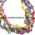 Mardi Gras Rainbow Metalic Beads Peace Necklace Lesbian Gay Pride
