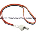 Rainbow Lanyard With Silver Tone Metal Whistle Gay Lesbian Pride