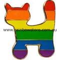 Rainbow Cat Badge Lapel Pin Lesbian Gay Pride