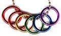 Large Rainbow Rings With Ball Chain Necklace Gay Lesbian Pride