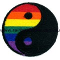 Rainbow Yin Yang Embroidered Iron On Patch Gay Lesbian Pride