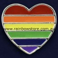 Rainbow Heart Silver Plated Badge Lapel Pin Lesbian Gay Pride
