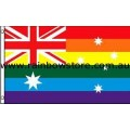 Rainbow Australia Flag Deluxe Polyester 3 feet by 5 feet Gay Lesbian Pride
