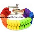 Rainbow Paracord Metal Clasp Bracelet Lesbian Gay Pride