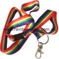 Rainbow Ribbon Long Lanyard Safety Release With Ring And Claw Clasp Gay Lesbian Pride