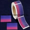 Bisexual Rectangle Plastic Coated Paper Adhesive Stickers Roll of 100 Bi Pride