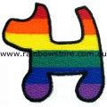 Rainbow Dog Embroidered Iron On Patch Lesbian Gay Pride