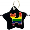 Gay Pride Rainbow Cat On Black Metal Star Pet Tag