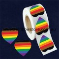 People of Colour Heart Plastic Coated Paper Adhesive Stickers Roll of 100 POC Gay Lesbian Pride