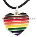 Rainbow People Of Colour Silver Plate Heart Charm Pendant Necklace POC Pride