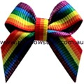 Rainbow Ribbon Bow With Alligator Clip Lesbian Gay Pride