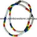 Rainbow And White Surfer Necklace Lesbian Gay Pride