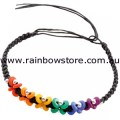 Rainbow Beads Black Platted Butterfly Bracelet 9 inch Lesbian Gay Pride