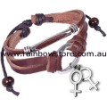 Brown Leather Bracelet Silver Tone Plastic Female Charms And Fittings Lesbian Pride