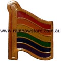 Rainbow Small Wavy Flag Badge Lapel Pin Gay Lesbian Pride