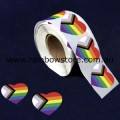 Progress Pride Heart Plastic Coated Paper Adhesive Stickers Roll of 100 Gay Lesbian Pride