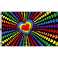 Rainbow Love Hearts Flag Screened 3 feet by 5 feet Gay Lesbian Pride