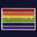 Rainbow Flag Rectangle Silver Plated Badge Lapel Pin Lesbian Gay Pride