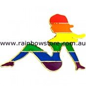 Rainbow Mudflap Trucker Girl Lapel Pin