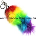 Rainbow Foxtail SMALL Key Chain Lesbian Gay Pride