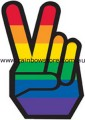 Rainbow Hand Peace Sticker Adhesive Gay Lesbian Pride