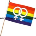 Female Symbols Flag On Stick Screened 12 inch by 18 inch Lesbian Gay Pride