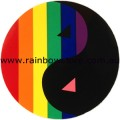 Rainbow Sticker Yin Yang With Pink Triangle Adhesive Lesbian Gay Pride