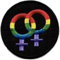 Rainbow Female Symbol Black Background Embroidered Iron On Patch Lesbian Pride