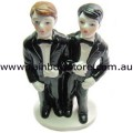 Cake Topper Black Tailcoats Double Male Wedding Same Sex Marriage Gay Pride