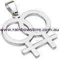 Female Stainless Steel Pendant With Silver Tone Ball Chain Necklace Lesbian Pride