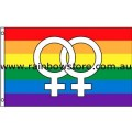 Female White Symbol Rainbow Flag Strong Polyester 3 feet by 5 feet Lesbian Gay Pride