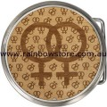 Alder Wood Double Female Round Belt Buckle Lesbian Gay Pride