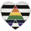 Straight Ally LGBTQ Heart Silver Plated Badge Lapel Pin