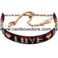 Rainbow LOVE Flat Wound Black Cotton Friendship Bracelet Gay Lesbian Pride