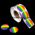 Rainbow Round Plastic Coated Paper Adhesive Stickers Roll of 100 Lesbian Gay Pride