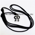 Double Female Symbol Pewter With Black Pendant Necklace