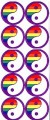 10 Yin Yang Rainbow Stickers Stationery Adhesive Lesbian Gay Pride