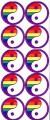 10 Yin Yang Rainbow Stickers Stationery Adhesive Lesbian Gay Pride