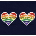 Rainbow Heart Silver Plate Stud Earrings Pair Gay Lesbian Pride