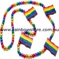 Mardi Gras Rainbow Metalic Beads With Flags Necklace Lesbian Gay Pride