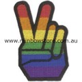 Rainbow Peace And Victory Hand Embroidered Iron On Patch Gay Lesbian Pride