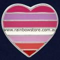 Lesbian Pride Heart Silver Plated Badge Lapel Pin