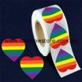 Rainbow Heart Plastic Coated Paper Adhesive Stickers Roll of 100 Gay Lesbian Pride