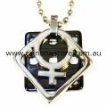 Female Silver Tone Symbol On Separate Black Pendant Necklace Lesbian Pride